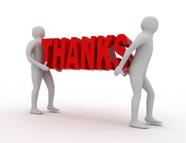 3d gente lleva palabra gracias