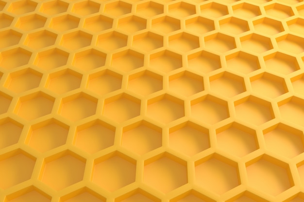 3d hexagonal amarillo patrón al azar