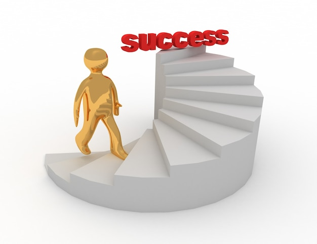 3d, hombre, en, escaleras, éxito