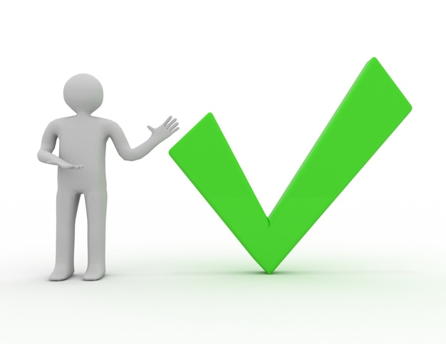 3d, hombre, presentación, marca de verificación