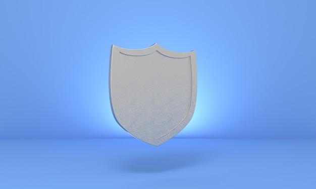 3d icono de escudo de plata medieval sobre fondo azul pastel símbolo de protección seguridad y defensa