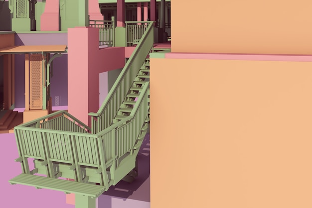3d ilustración arquitectura de escalera oriental