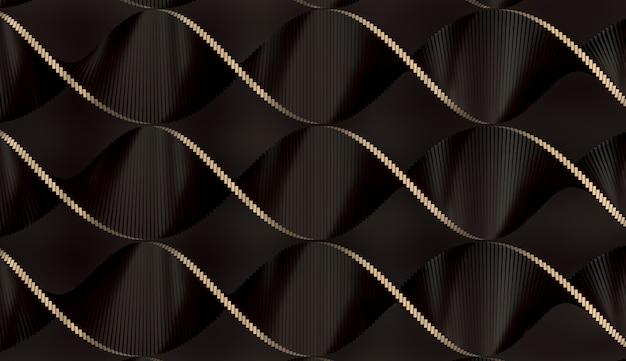 3d ilustración de un conjunto de negro y oro