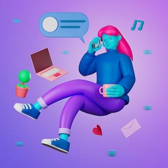 3d ilustración de dibujos animados casual joven mujer flotando y usando la computadora portátil para trabajar desde casa o aprender en línea mientras está en cuarentena del brote de virus covid-19.