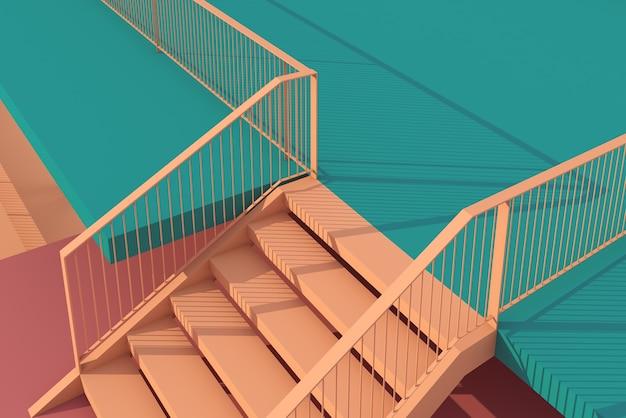 3d ilustración escaleras y diseño de piso