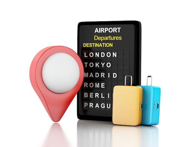 3d ilustración junta del aeropuerto, maletas de viaje y puntero del aeropuerto. concepto de viaje de línea aérea.