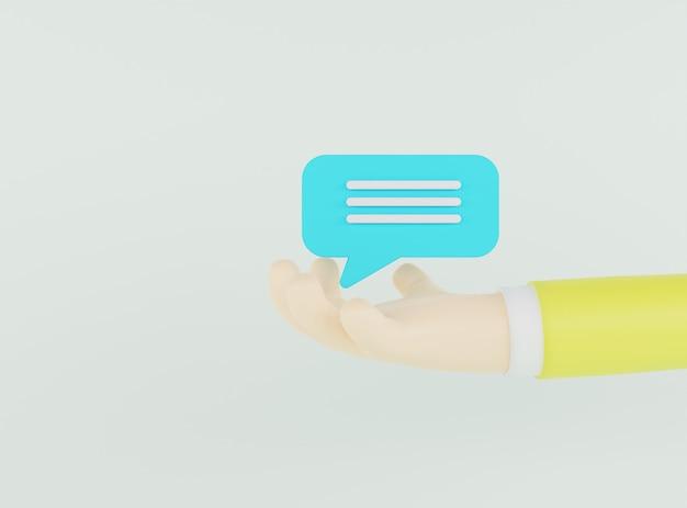 3d ilustración mano sosteniendo la burbuja de chat azul sobre fondo verde claro