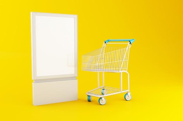 3d letrero en blanco y carrito de compras