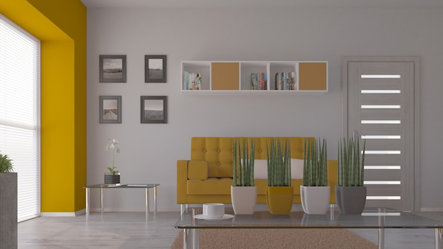 3d living contemporáneo interior y muebles modernos