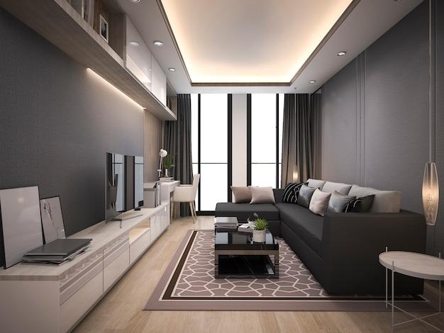 3d de lujo y sala de estar moderna con un buen sofá de cuero de diseño