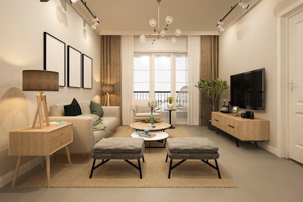 3d de lujo y sala de estar moderna con sofá de tela