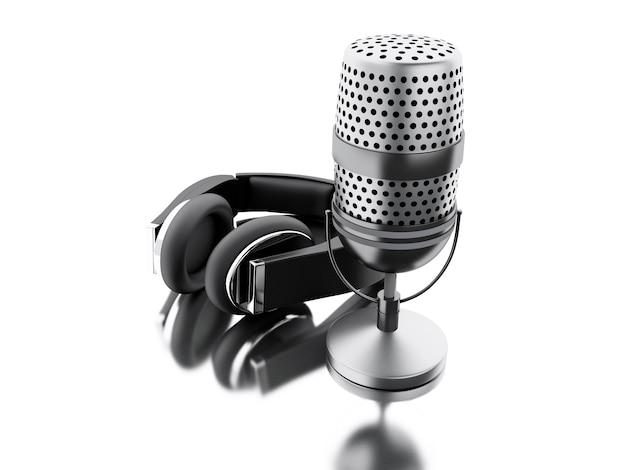 3d un micrófono con auriculares negros.