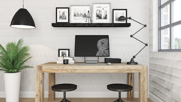 3d moderno interior de la oficina