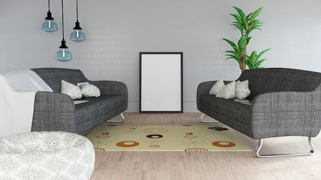 3d moderno salón interior con marco en blanco
