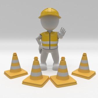3d morph man builder con conos de peligro