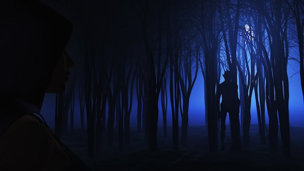 3d mujer mirando la criatura en el bosque de niebla