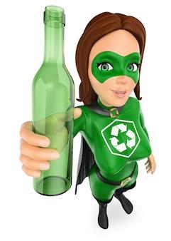 3d mujer superhéroe de reciclaje con una botella de vidrio