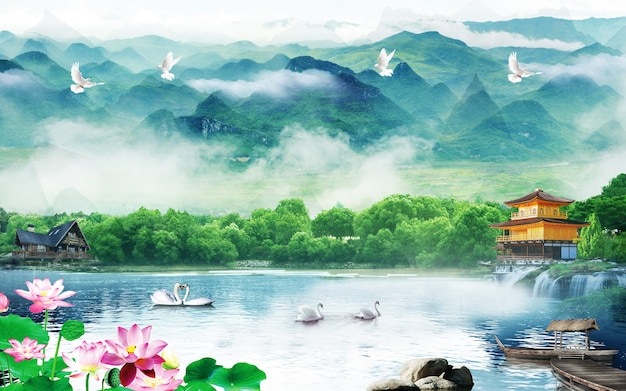 3d mural papel tapiz colorido paisaje flores y árboles y lago agua cielo y nubes con pájaros