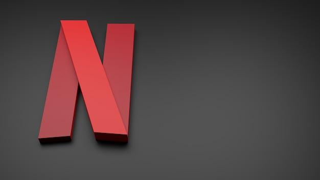 3d netflix logo icono fondo copia espacio