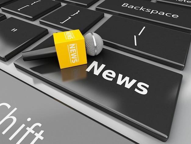 3d news micrófono y teclado de computadora con noticias de palabra.