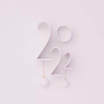 3d número feliz año nuevo 2022 hacer ilustración