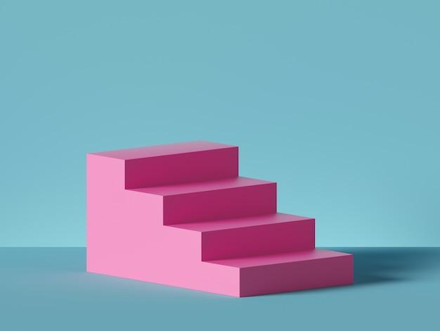 3d de pasos de color rosa, escaleras aisladas