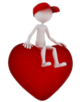 3d persona sentada en forma de corazón