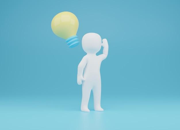 3d de la persona tiene una buena idea. ilustración 3d. representación 3d