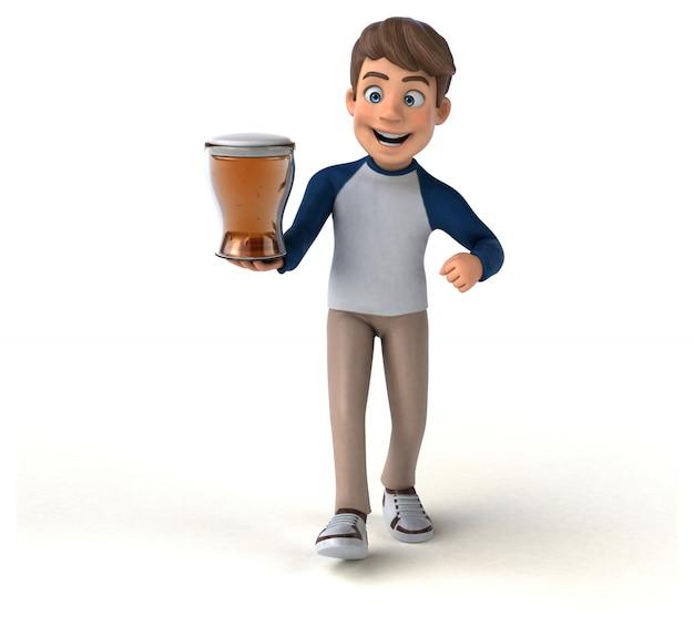 3d personaje de dibujos animados divertido adolescente