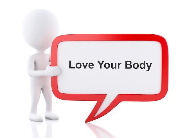 3d personas blancas con burbujas de discurso que dice love your body.