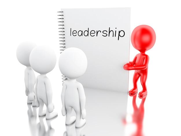 3d personas blancas y bloc de notas con liderazgo.