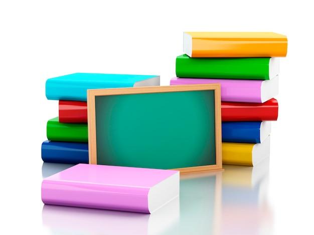 3d pizarra con pila de libros.