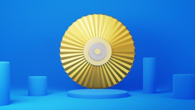 3d de podio azul y oro. fondo con composición geométrica, soporte semicircular. diseño moderno.