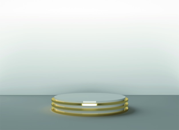 3d podio backgraund telón de fondo pastel lujo oro blanco realista render telón de fondo plataforma estudio soporte de luz
