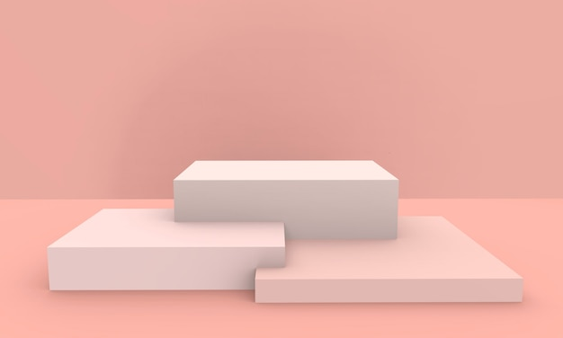 3d prestados - fondo de exhibición de producto de podio de color rosa melocotón