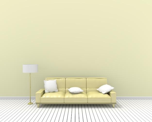 3d que rinde las almohadas y la lámpara del sofá amarillo blanco, color de la pared del pastel