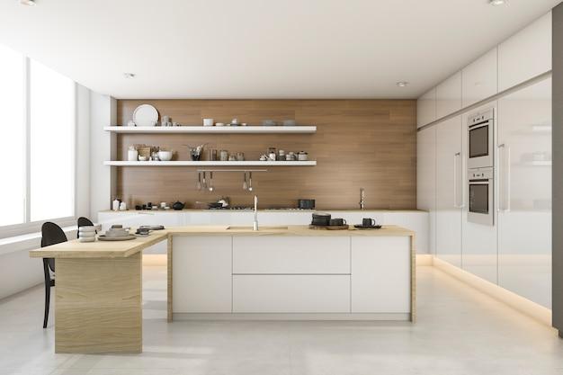3d que rinde la cocina blanca del estilo del desván