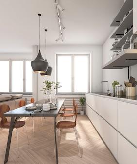 3d que rinde la cocina escandinava de madera mínima con la lámpara