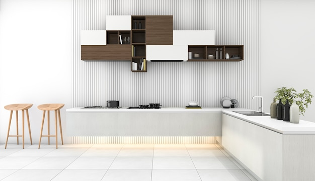 3d que rinde la cocina moderna blanca con una decoración mínima