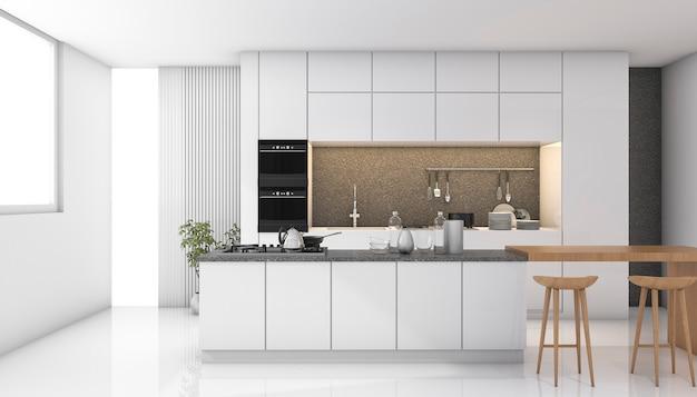 3d que rinde la cocina moderna blanca con la luz de la ventana