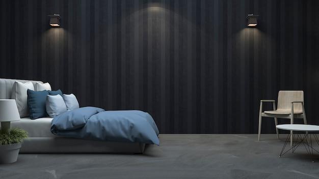 3d que rinde el dormitorio negro de la pared de madera con la luz agradable