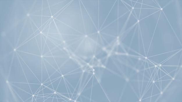 3d que rinde futurista abstracto con las líneas brillantes de la conexión en concepto azul del fondo, de la ciencia, del negocio, de la comunicación, médico, de la tecnología. estructura del plexo. ilustración