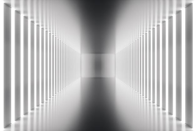 3d que rinde el interior abstracto del sitio con las luces de neón. fondo de arquitectura futurista. maqueta para su proyecto de diseño