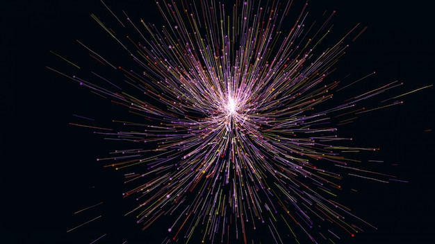 3d que rinde la línea de partícula colorida como una flor crece. líneas brillantes y partículas de luz sobre fondo azul oscuro.