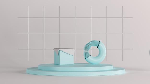 3d que rinde el nuevo fondo de lujo, formas azules del objeto en el piso blanco, ilustración 3d