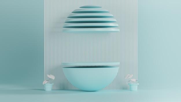 3d que rinde el nuevo fondo de lujo, formas azules del objeto para la plantilla en el piso, ilustración 3d