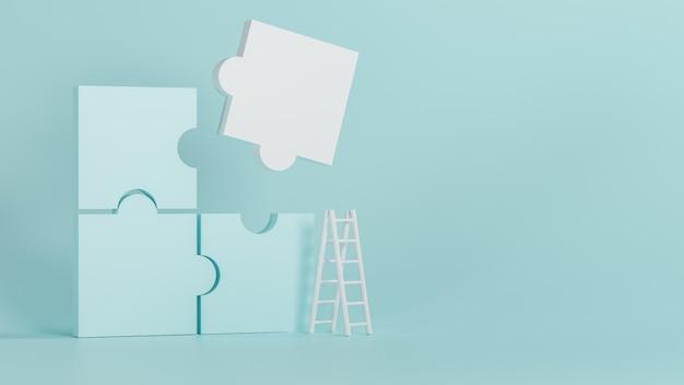 3d que rinde el nuevo fondo de lujo, jigzaw azul y blanco, ilustración 3d