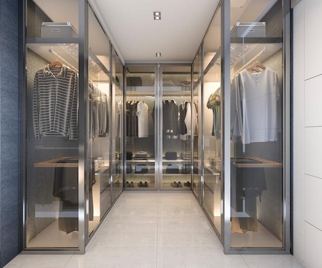 3d que rinde el paseo de cristal de lujo moderno en armario con la decoración azul