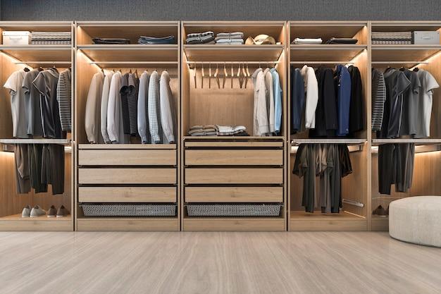 3d que rinde el paseo de madera blanco escandinavo moderno en armario con el guardarropa cerca de la ventana