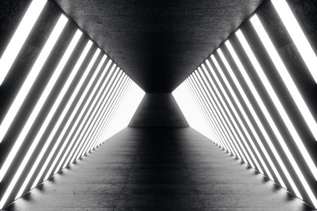 3d que rinde el pasillo oscuro futurista abstracto con las luces de neón. luz brillante fondo de arquitectura futurista